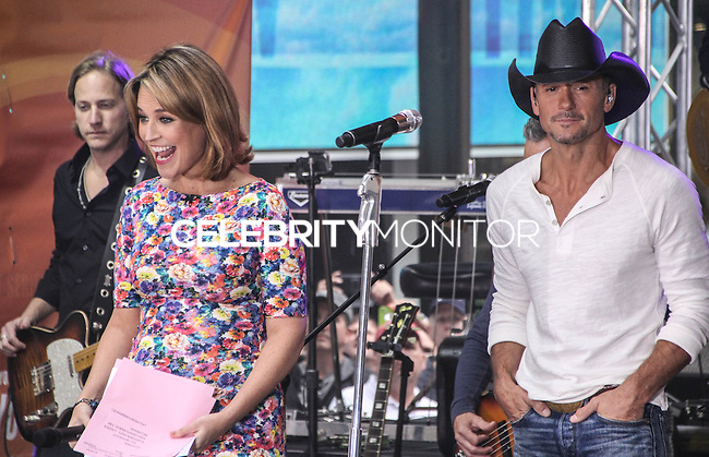 NEW YORK CITY, NY, USA - MAY 23: Savannah Guthrie, Tim McGraw performs on NBC's 'Today' at the Rockefeller Center on May 23, 2014 in New York City, New York, United States. (Photo by Jeffery Duran/Celebrity Monitor)