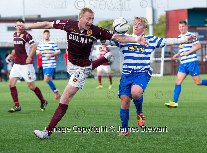 Penalty controversy number 3 : The ball seems to strike the arm of Stenny's Stewart Greacen as he challenges for the ball with Morton's Connor Pepper but Referee Alan Muir waves play on.