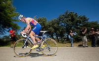 02 JUN 2013 - MADRID, ESP - Matt Sharp (GBR) of Great Britain on the bike during the men's ITU 2013 World Triathlon Series round in Casa de Campo, Madrid, Spain (PHOTO (C) 2013 NIGEL FARROW)