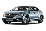 Stock pictures of low aggressive front three quarter view of 2021 Renault Talisman Intens 4 Door Sedan Low Aggressive
