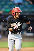 Chattanooga Lookouts shortstop Engelb Vielma (2) runs to first base during a game against the Jackson Generals on April 27, 2017 at The Ballpark at Jackson in Jackson, Tennessee.  Chattanooga defeated Jackson 5-4.  (Mike Janes/Four Seam Images)