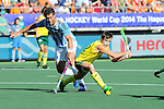 The Hague, Netherlands, June 13: Jacob Whetton #12 of Australia scores a field goal (3-0) during the field hockey semi-final match (Men) between Australia and Argentina on June 13, 2014 during the World Cup 2014 at Kyocera Stadium in The Hague, Netherlands. Final score 5-1 (3-0)  (Photo by Dirk Markgraf / www.265-images.com) *** Local caption *** Juan Ignacio Gilardi #4 of Argentina, Jacob Whetton #12 of Australia