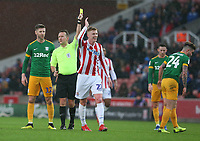 Stoke City's Sam Clucas reacts as Referee Oliver Langford shows him a yellow card for a tackle on Preston North End's Sean Maguire<br /> <br /> Photographer Stephen White/CameraSport<br /> <br /> The EFL Sky Bet Championship - Stoke City v Preston North End - Saturday 26th January 2019 - bet365 Stadium - Stoke-on-Trent<br /> <br /> World Copyright © 2019 CameraSport. All rights reserved. 43 Linden Ave. Countesthorpe. Leicester. England. LE8 5PG - Tel: +44 (0) 116 277 4147 - admin@camerasport.com - www.camerasport.com
