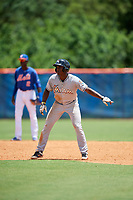 GCL Marlins shortstop Osiris Johnson (9) leads off second base during a game against the GCL Mets on August 3, 2018 at St. Lucie Sports Complex in Port St. Lucie, Florida.  GCL Mets defeated GCL Marlins 3-2.  (Mike Janes/Four Seam Images)