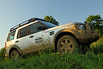 Germany, Bad Kissingen, Allrad Messe, 25-29.05.2005. Land Rover Discovery 3 with roof rack, Land Rover Experience. Mud. --- No releases available. Automotive trademarks are the property of the trademark holder, authorization may be needed for some uses.