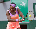 Serena Williams (USA) defeats Anna-Lena Friedsam (GER) 5-7. 6-3, 6-3 at  Roland Garros being played at Stade Roland Garros in Paris, France on May 28, 2015