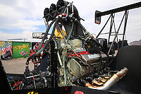 Mar 29, 2014; Las Vegas, NV, USA; Detailed view of oil on the engine of NHRA top fuel dragster driver Scott Palmer during qualifying for the Summitracing.com Nationals at The Strip at Las Vegas Motor Speedway. Mandatory Credit: Mark J. Rebilas-