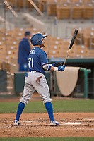 Los Angeles Dodgers left fielder Saige Jenco (71) during a Minor League Spring Training game against the Seattle Mariners at Camelback Ranch on March 28, 2018 in Glendale, Arizona. (Zachary Lucy/Four Seam Images)