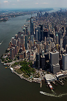aerial photograph from Battery Park along the west side and Hudson River, toward midtown, Manhattan, New York City