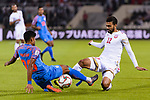 Ahmed Ali Juma of Bahrain (R) fights for the ball with Pritam Kotal of India (L) during the AFC Asian Cup UAE 2019 Group A match between India (IND) and Bahrain (BHR) at Sharjah Stadium on 14 January 2019 in Sharjah, United Arab Emirates. Photo by Marcio Rodrigo Machado / Power Sport Images