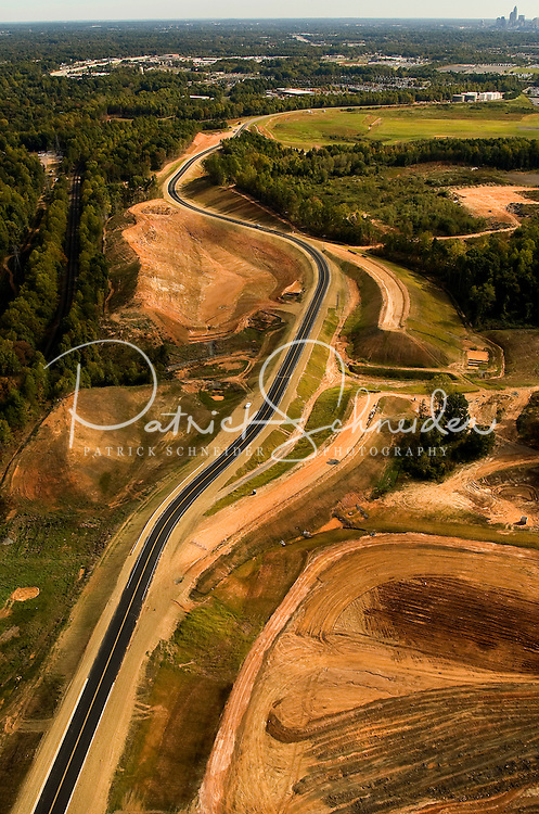 Aerial photo of a newly built road near Charlotte Douglas International Airport, taken October 2008.