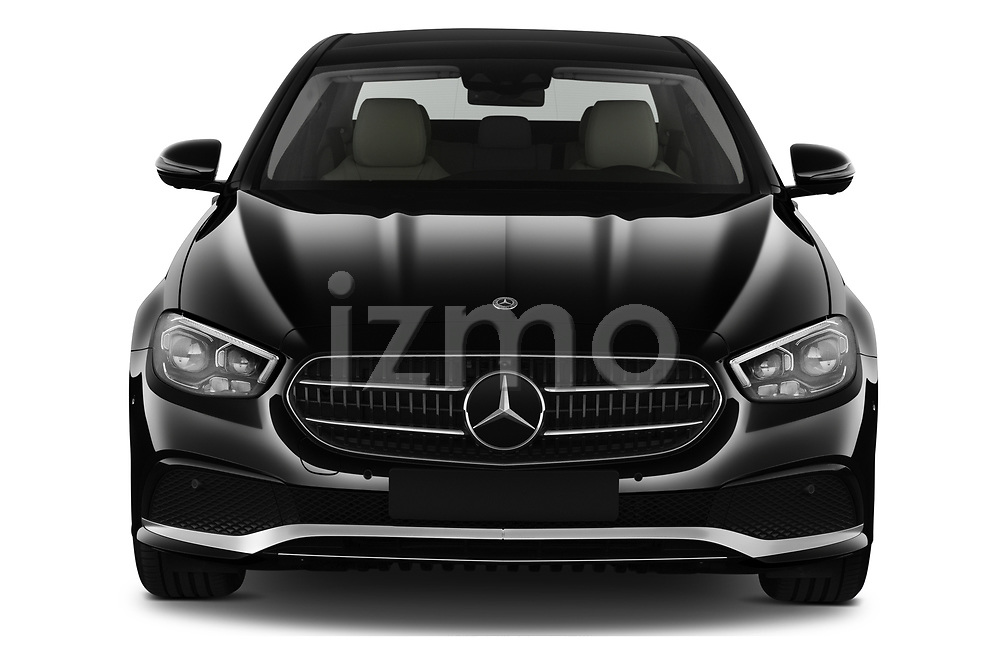 Car photography straight front view of a 2021 Mercedes Benz E-Class Avantgarde 4 Door Sedan Front View
