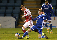 Josh Eccles of Gillingham tackles Arsenal's Emile Smith Rowe during Gillingham vs Arsenal Under-21, Papa John's Trophy Football at the MEMS Priestfield Stadium on 10th November 2020