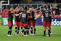 WASHINGTON, DC - JULY 7: Felipe Martins #18 of D.C. United celebrates his score with teammates during a game between Liga Deportiva Alajuense  and D.C. United at Audi Field on July 7, 2021 in Washington, DC.