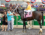 Rock Fall (no. 8), ridden by Xavier Castellano and trained by Todd Pletcher, wins the 37th running of the grade 2 True North Stakes for four year olds and upward on June 05, 2015 at Belmont Park in Elmont, New York. (Bob Mayberger/Eclipse Sportswire)