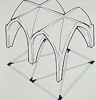 Teaching aid: Diagram of a Rib Vault--a skeleton of arches or ribs on which masonry can be laid to form a ceiling or roof. Rib vaults were frequently used in medieval buildings, most famously in Gothic cathedrals.