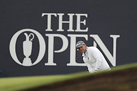12th July 2021; The Royal St. George's Golf Club, Sandwich, Kent, England; The 149th Open Golf Championship, practice day; Matt Jones (USA) plays a putt from off the green at the 18th