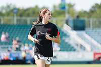 CARY, NC - SEPTEMBER 12: Morgan Weaver #22 of the Portland Thorns warms up before a game between Portland Thorns FC and North Carolina Courage at WakeMed Soccer Park on September 12, 2021 in Cary, North Carolina.
