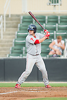 Andrew Knapp (16) of the Lakewood BlueClaws at bat against the Kannapolis Intimidators at CMC-NorthEast Stadium on July 20, 2014 in Kannapolis, North Carolina.  The Intimidators defeated the BlueClaws 7-6. (Brian Westerholt/Four Seam Images)