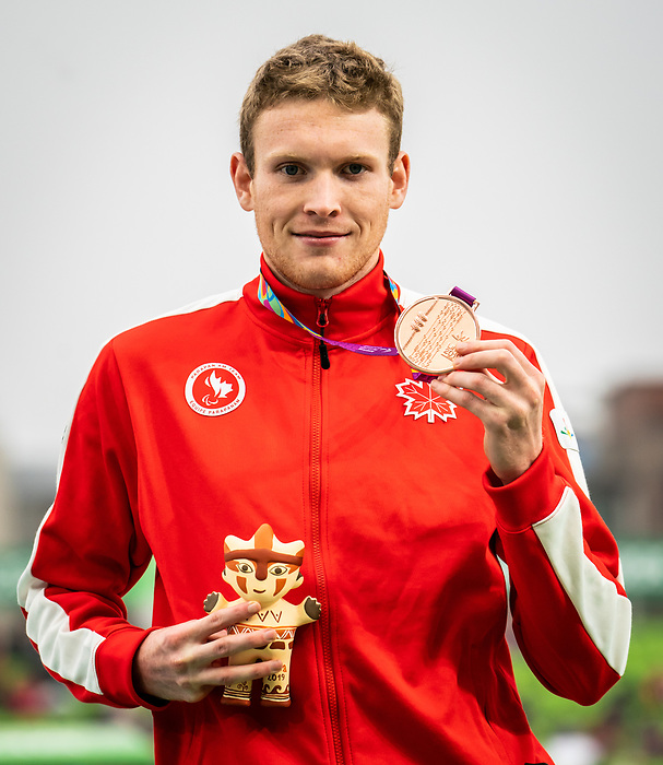Liam Stanley, Lima 2019 - Para Athletics // Para-athlétisme.<br /> Liam Stanley takes the bronze in men's 400m T37. // Liam Stanley remporte la médaille bronze au 400 m T37 masculin. 25/08/2019.