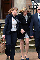 Pictured: Sian Elin Williams (C) leaves the Coroner's Court in Milford Haven, west Wales, UK. Friday 05 April 2019<br /> Re: Inquest into the death of three-year-old Evan Lloyd Williams, who died after being hit by a vehicle driven by his father Dewi Williams at a property in Llanybydder, Carmarthenshire, Wales, UK in October 2018.