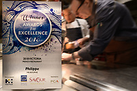 Melbourne, August 1, 2018 - The winner's trophy from Saveur Awards at Philippe Restaurant in Melbourne, Australia. Photo Sydney Low