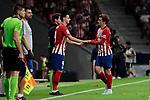 Atletico de Madrid's Nikola Kalinic (L) and Antoine Griezmann (R) during La Liga match between Atletico de Madrid and SD Huesca at Wanda Metropolitano Stadium in Madrid, Spain. September 25, 2018. (ALTERPHOTOS/A. Perez Meca)