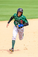Great Lakes Loons infielder Moises Perez (7) runs to third base during a Midwest League game against the Wisconsin Timber Rattlers on May 12, 2018 at Fox Cities Stadium in Appleton, Wisconsin. Wisconsin defeated Great Lakes 3-1. (Brad Krause/Four Seam Images)