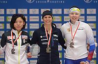 SPEEDSKATING: 07-12-2018, Tomaszów Mazowiecki (POL), ISU World Cup Arena Lodowa, Podium 1000m Ladies Division A, Miho Takagi (JPN), Brittany Bowe (USA), Daria Kachanova (RUS), ©photo Martin de Jong