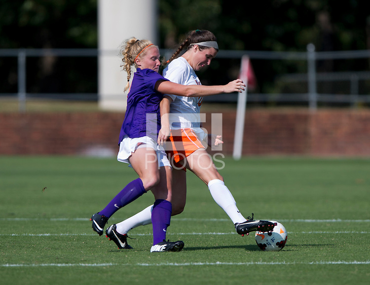 Annie Steinlage (10) of Virginia fights for the ball with Tabitha Padgett (7) of Clemson at Klockner Stadium in Charlottesville, VA.  Virginia defeated Clemson, 3-0.