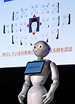 July 20, 2016, Tokyo, Japan - Japan's high-tech company Glory deonstrates ablility of face recognition by Softbank's humanoid robot Pepper at a press preview of the Pepper World exhibition in Tokyo on Wednesday, July 20, 2016. Pepper's latest applications and accessories will be exhibited at the Pepper World robot exhibition on July 21 and 22.      (Photo by Yoshio Tsunoda/AFLO)