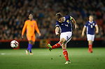 Kieran Tierney comes close to scoring for Scotland