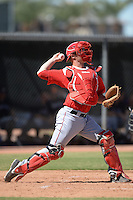 Los Angels Angels of Anaheim catcher Zachary Wright (19) during an instructional league game against the Colorado Rockies on September 30, 2013 at Tempe Diablo Stadium Complex in Tempe, Arizona.  (Mike Janes/Four Seam Images)