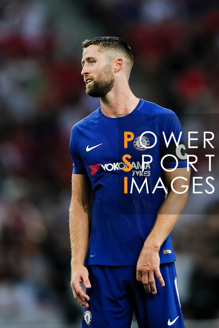 Chelsea Defender Gary Cahill reacts during the International Champions Cup match between Chelsea FC and FC Bayern Munich at National Stadium on July 25, 2017 in Singapore. Photo by Marcio Rodrigo Machado / Power Sport Images