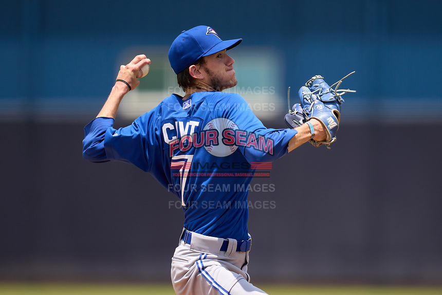 FCL Blue Jays pitcher Marc Civit (7) during a game against the FCL Yankees on June 29, 2021 at the Yankees Minor League Complex in Tampa, Florida.  (Mike Janes/Four Seam Images)