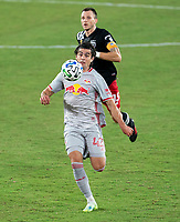 WASHINGTON, DC - SEPTEMBER 12: Brian White #42 of the New York Red Bulls dribbles during a game between New York Red Bulls and D.C. United at Audi Field on September 12, 2020 in Washington, DC.
