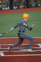 Max Ferguson (2) of the Tennessee Volunteers follows through on his swing against the Charlotte 49ers at Hayes Stadium on March 9, 2021 in Charlotte, North Carolina. The 49ers defeated the Volunteers 9-0. (Brian Westerholt/Four Seam Images)