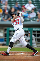 Will Craig (25) of the Indianapolis Indians follows through on his swing at Victory Field on May 14, 2019 in Indianapolis, Indiana. The Indians defeated the RailRiders 4-2. (Andrew Woolley/Four Seam Images)