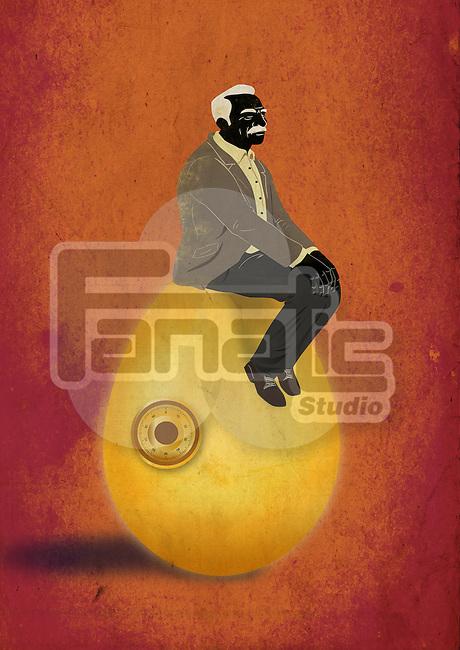 Illustrative concept of elderly man sitting on egg representing retirement fund