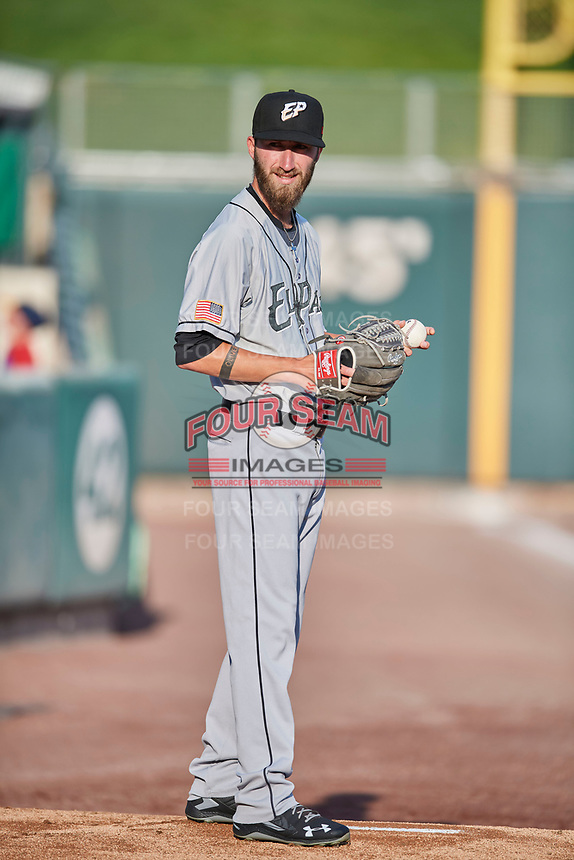 El Paso Chihuahuas starting pitcher Dillon Overton (21) throws before the game against the Salt Lake Bees at Smith's Ballpark on August 14, 2018 in Salt Lake City, Utah. El Paso defeated Salt Lake 6-3. (Stephen Smith/Four Seam Images)