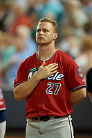 """Fort Myers Miracle Ryan Jeffers (27) during """"God Bless America"""" in the seventh inning stretch of a Florida State League game against the Charlotte Stone Crabs on April 6, 2019 at Charlotte Sports Park in Port Charlotte, Florida.  Fort Myers defeated Charlotte 7-4.  (Mike Janes/Four Seam Images)"""