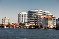 Ft. Lauderdale, Florida.  Looking North on the Intracoastal waterway.  W Hotel on the right.