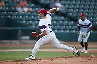 Winston-Salem Rayados starting pitcher Davis Martin (24) in action against the Llamas de Hickory at Truist Stadium on July 6, 2021 in Winston-Salem, North Carolina. (Brian Westerholt/Four Seam Images)