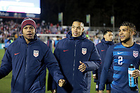 Cary, N.C. - Tuesday March 27, 2018: Weston McKennie, Bobby Wood, DeAndre Yedlin during an International friendly game between the men's national teams of the United States (USA) and Paraguay (PAR) at Sahlen's Stadium at WakeMed Soccer Park.