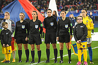 20200307  Valenciennes , France : referee Marta Huerta De Aza (M) with assistant referees Guadalupe Porras Ayuso and Eliana Fernandez Gonzalez  pictured during the female football game between the national teams of France and Brasil on the second matchday of the Tournoi de France 2020 , a prestigious friendly womensoccer tournament in Northern France , on Saturday 7 th March 2020 in Valenciennes , France . PHOTO SPORTPIX.BE | DIRK VUYLSTEKE