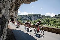 peloton rolling through the spectacular Gorges de l'Ardèche<br /> <br /> Stage 12 from Saint-Paul-Trois-Châteaux to Nîmes (159km)<br /> 108th Tour de France 2021 (2.UWT)<br /> <br /> ©kramon