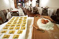 Tortelli vino rosso, farina e uova nel ristorante La Greppia a Parma.<br /> Tortelli, red wine, flour and eggs in the restaurant La Greppia, in Parma.<br /> UPDATE IMAGES PRESS/Riccardo De Luca