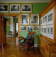 The walls of Crown Prince Frederick William's apple-green study are lined with copper engravings chosen by Schinkel from the Crown Prince's collection