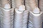 Stacks of cowboy hats on display during the Calgary Stampede, Calgary, Alberta, Canada