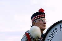 A drummer stands at attention during the 52nd Annual Grandfather Mountain Highland Games in Linville, NC.